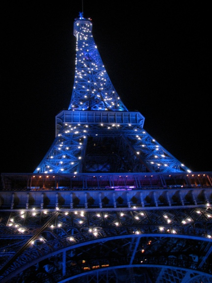 The Eiffel Tower lit up for the holidays.