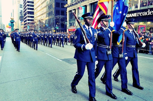 The Air Force marches through New York City during the Macy's Thanksgiving Day Parade.